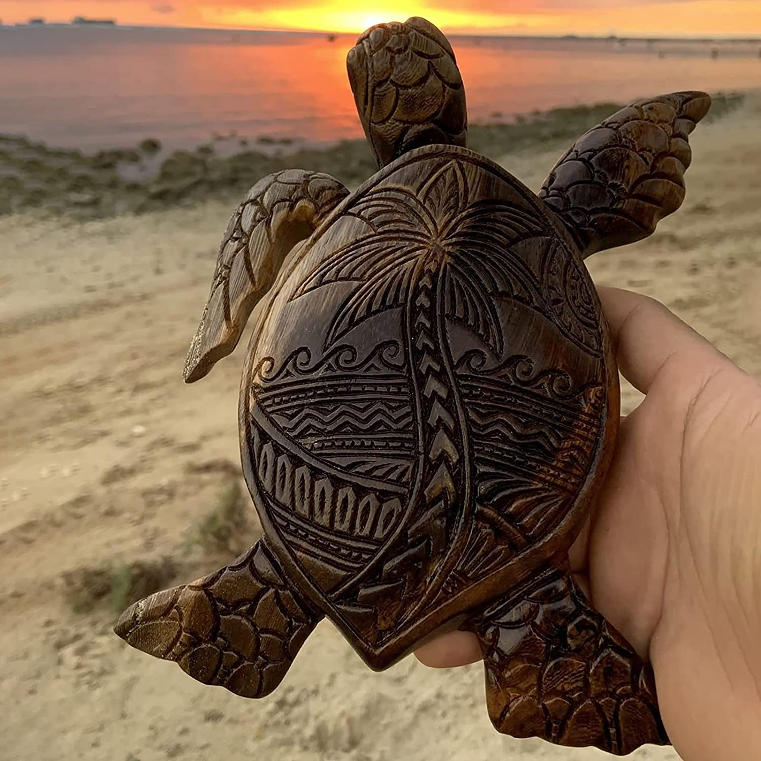 Hawaiian Turtle Woodcarving Resin Classic St Hand Tortoise 4 years warranty Carved