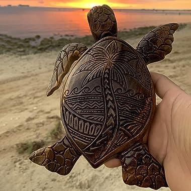 Hawaiian Turtles Decoration, Tortoise Resin Statue Figurine Sculpture Handcrafted Handmade Decorative Home Decor Accent Rusti