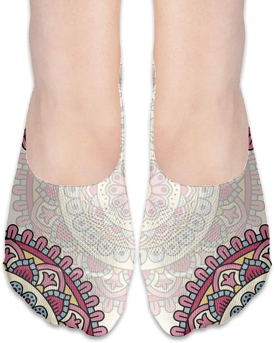 No Show Socks Women Men For Mandala Pink Hipster Flats Cotton Ultra Low Cut Liner Socks Non Slip