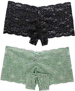Malbaba 2pcs Women's Sexy Underwear Plus Size Lace Panties Low Waist Underwear