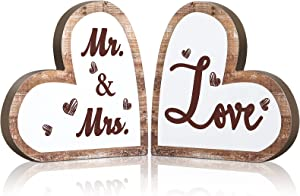 Mr and Mrs Sign Rustic Wood Love Sign Decor Heart Shaped Wooden Signs Decorative Heart Wooden Wedding Table Sign for Wedding Present Home Anniversary Party Valentine's Day