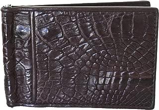 Authentic M Crocodile Skin Men's Money Clip Belly Leather Wallet Dark Brown