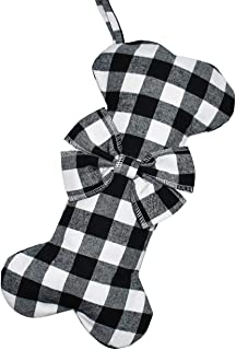Senneny Pet Dog Christmas Stockings Classic Buffalo Black White Plaid Large Bone Shape Hanging Christmas Stocking for Dogs Pets