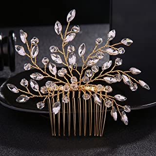 FXmimior Wedding Headpiece Crystal Rhinestone Hair Comb Hair Accessories for Bridal Bridesmaid Women (gold)