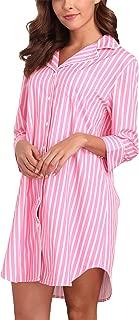 Women's Boyfriend Sleep Shirt Dress Striped Button Down Nightgown Pajama Duster S-XXL