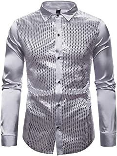 certainPL Men Dress Shirt Sequins Long Sleeve Button Down Shirt, Men's Holiday Party Casual Metallic Shiny Nightclub Elastic Slim Fit Long Sleeve Button Down Sequins Shirt S-XXL