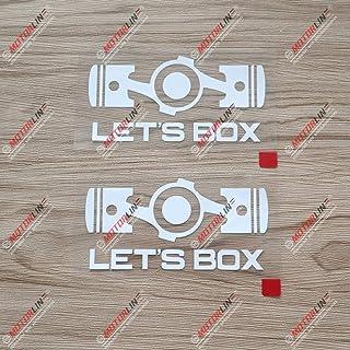 3S MOTORLINE 2X White 4'' Let's Box Boxer Flat 4 Car Decal Sticker Fit for Subaru STI WRX etc