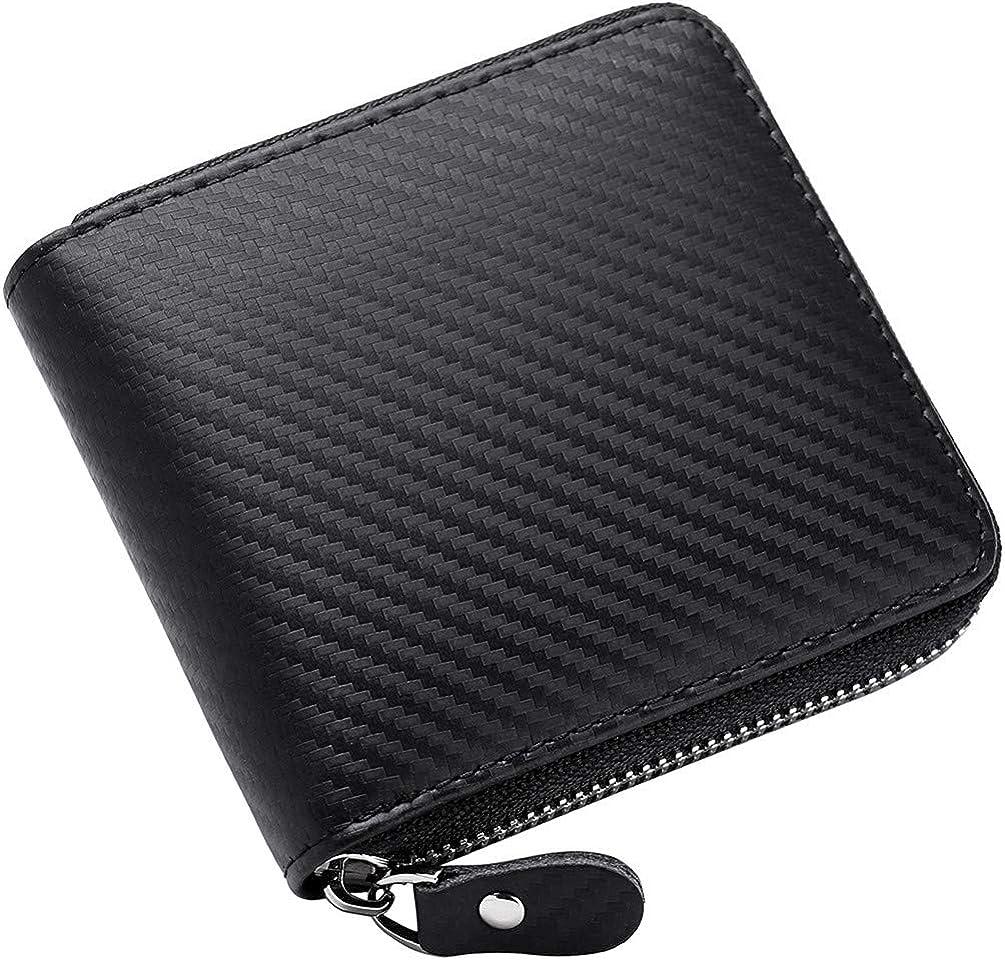 Veeskyee Men's Leather Zipper Wallet RFID Blocking Zip Around Wallet Bifold Multi Card Holder Purse