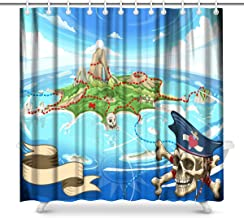 InterestPrint Neverland Adventure Game Cove Pirate Treasure Island Map Bathroom Decor Shower Curtain Set with Hooks, 72 Inches Long