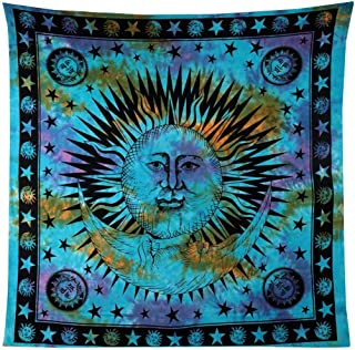 RAJRANG BRINGING RAJASTHAN TO YOU Psychedelic Tapestry - Celestial Sun and Moon Wall Hanging Indian Hippie Decorative Throw Tie Dye Bohemian Hand loomed Window Door Curtain - 90 X 84 Inches