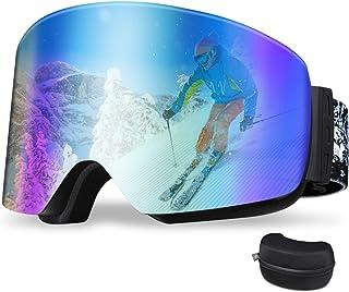 【2021最新柱面レンズ】スキーゴーグル スノーボード 柱面 180°広視野 メガネ対応 曇り止め UV400 紫外線100%カット 防風防雪防塵 登山/スノボ/バイク/スポーツに全面適用