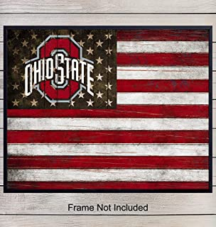 Ohio State Buckeyes Football Wall Art Print - Patriotic Flag Poster - Unique Home Decor for Dorm Room, Office, Man Cave - Gift for Men, NCAA, NFL Sports Fans - Rustic Shabby Chic 8x10 Photo Unframed