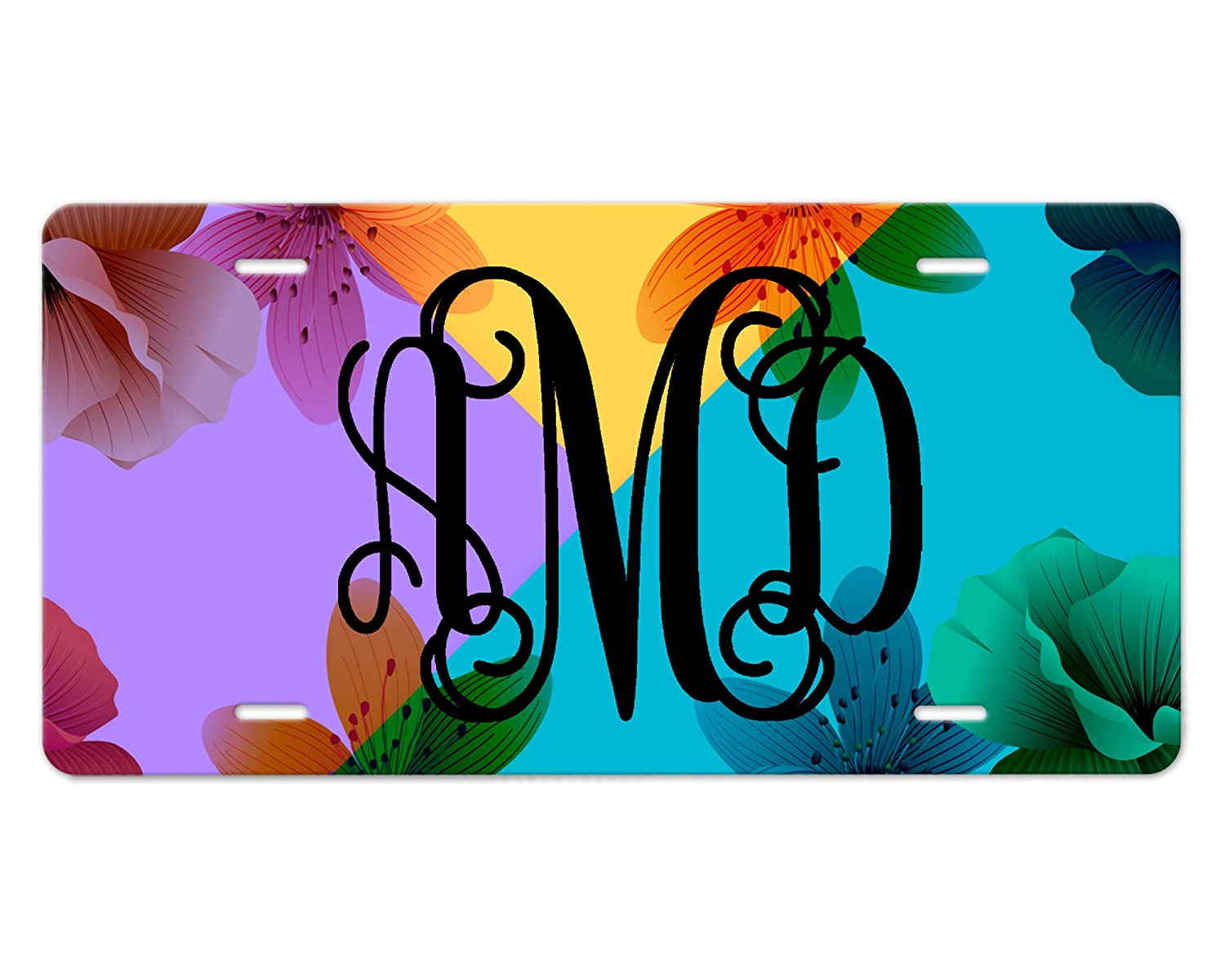 Customizable Award Monogram Front Car Tag Max 81% OFF Floral Design - Yell Purple