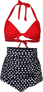 Retro Sexy 50s Elegant Vintage High Waist Bikini Diving Swimsuit Swimwear