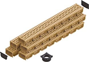 Standartpark - 4 Inch Trench Drain System With Grate - Sand - Tan Color - Spark 2 Channel (5 pack)
