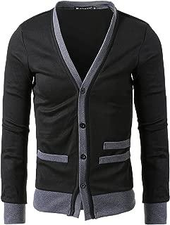 Mens Deep V Neck Long Sleeve Cardigan Sweaters Gray