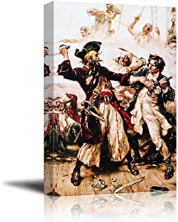 wall26 - Capture of The Pirate, Blackbeard by Jean Leon Gerome Ferris - Canvas Print Wall Art Famous Painting Reproduction - 16
