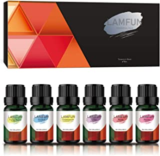 Essential Oils Set, LamFun Floral Essential Oils Gift Kit for Diffuser, Massage and DIY, 100% Pure & Natural - Lilac, Rose, Peony, Ylang Ylang, Orchid, Chamomile Essential Oils, 6 x 10 ml