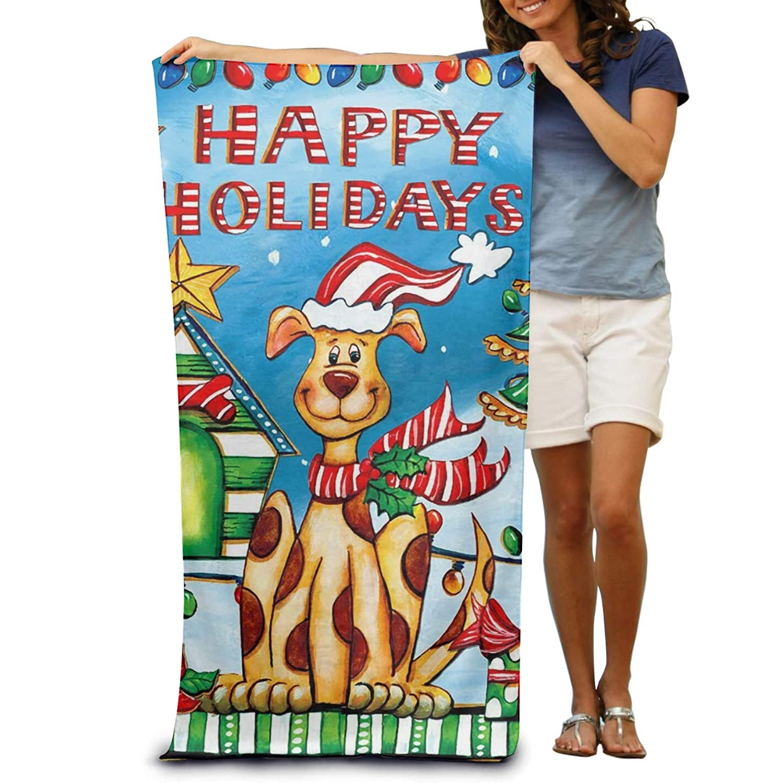 130×80 Cm 幸せな休日犬クリスマス子犬ユーモア 綿100% ビーチタオル 折りたたみ 吸水性バスビーチタオル ビーチ プール 海水浴 ビキニ 水着