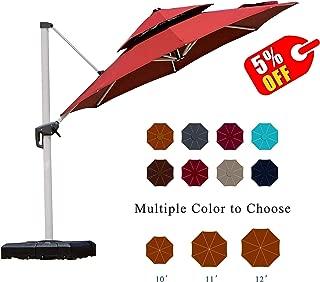 PURPLE LEAF 12 Feet Double Top Round Deluxe Patio Umbrella Offset Hanging Umbrella Outdoor Market Umbrella Garden Umbrella, Terra