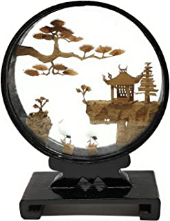 TJ Global Beautiful Hand Carved Oriental Traditional Chinese Cork Sculpture Carving with Cranes, Trees, and Pagoda in Glass Display (L5.75 x W2 x H8)