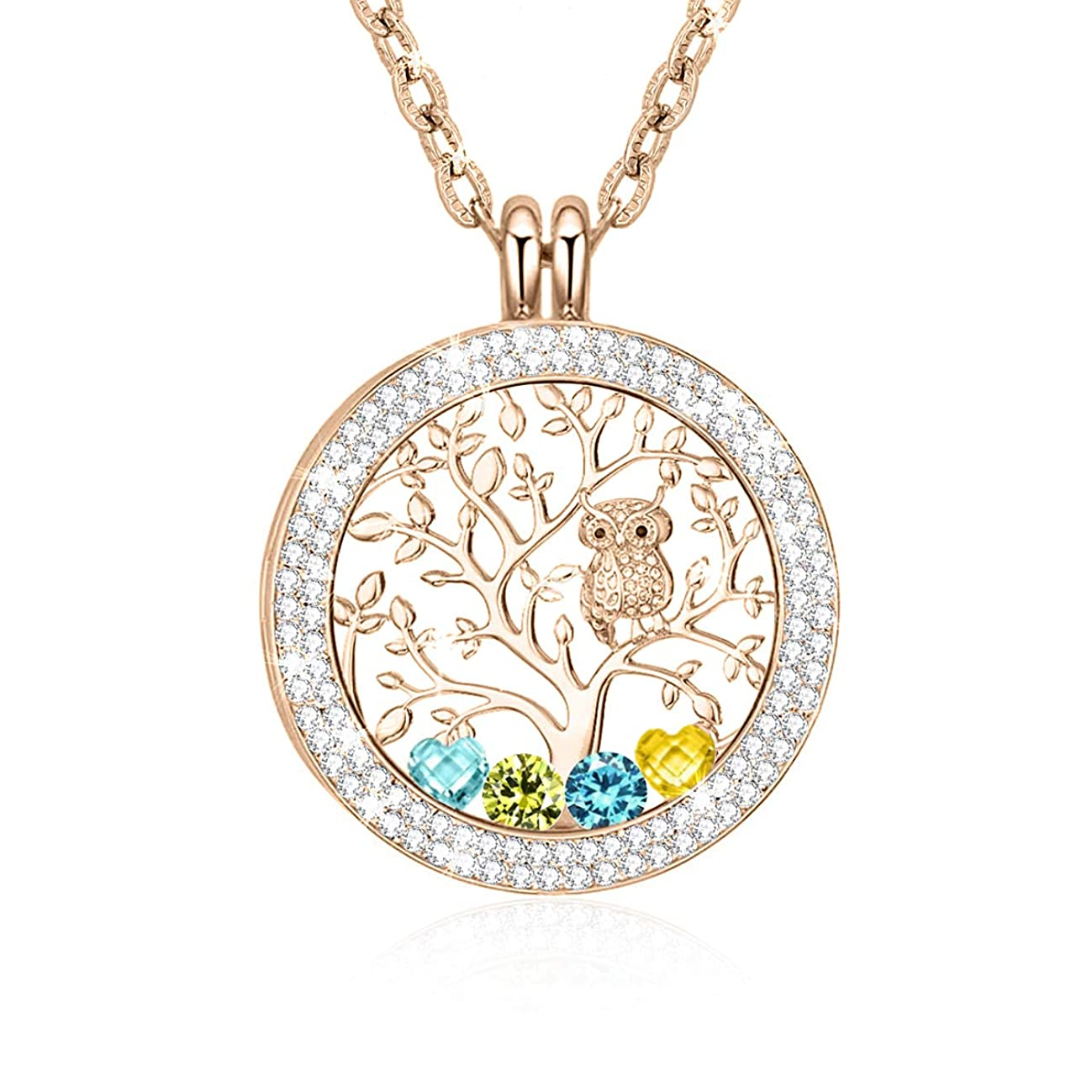 CLORIS TAUTOU Family Tree of Life Floating Charms Memory Locket Pendant Necklace with Created Birthstone Necklace