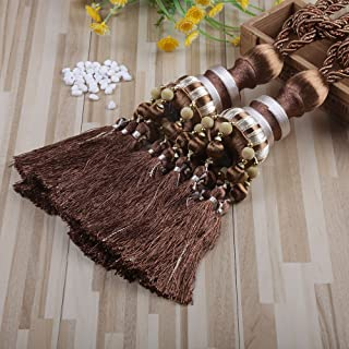 KISENG 1 Pair Beaded Tassels Curtain Tiebacks Rope Holdbacks for Bedroom (G Light Brown)