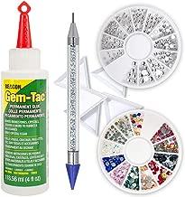 Beacon GT4D Gem-Tac Permanent Adhesive, 4-Ounce, Pixiss 6-inch Jewel Picker Setter Tool, 2x Gem Wheel 240 Flatback Clear & Color Rhinestone, 5 Triangle Bead Trays Wax Pencil Applicator Application Kit