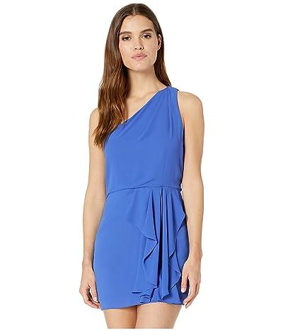 Halston Heritage One Shoulder Drape Front Dress (Azure 1) Women
