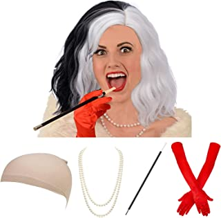 Ms. Spot Wig,Women's Dalmatian Diva Cruella Dalmatians Dog Wig Costume Accessory Set,3