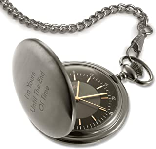 Things Remembered Personalized Satin Gunmetal Pocket Watch with Engraving Included