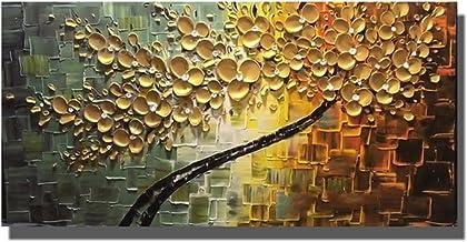 Handgeschilderd Olieverfschilderij - Moderne Abstracte Gouden Bloemen Handgeschilderde Mes Olieverf Palet Textuur Boom Kun...