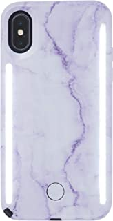 LuMee Duo Phone Case, Lavender Marble | Front & Back LED Lighting, Variable Dimmer | Shock Absorption, Bumper Case, Selfie Phone Case | iPhone X/iPhone Xs