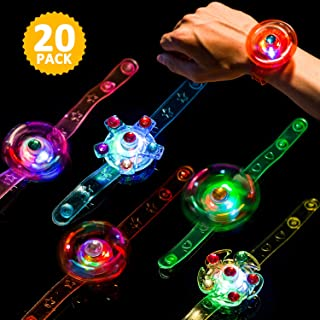 Light Up Bracelet Fidget Toys 20 Pack LED Party Favors for Kids Girls / Boys Prizes Glow In The Dark Hand Spin Stress Relief Anxiety Toy for Classroom Christmas Birthday Celebration New Year Eve Party
