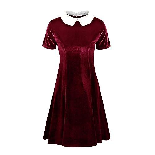 59cad846e3c82 Annigo Womens Velvet Casual Short/Long Sleeve Peter Pan Collar Flare Skater  Short Dress