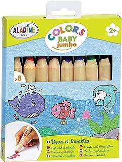 Aladine - Colors Baby Jumbo - Lot de 8 Crayons de Couleur - Tracé Doux et Lavables - Crayons Faciles à Prendre en Main - À...