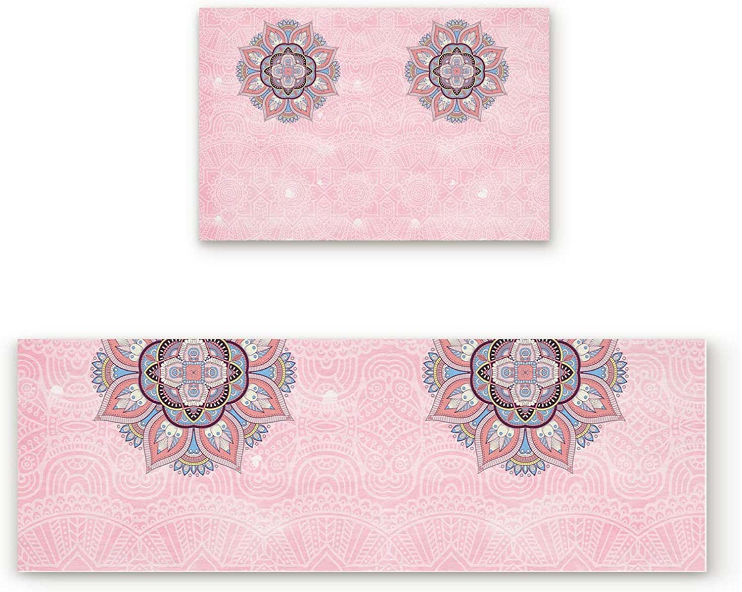 Kitchen Rugs Sets 2 Piece Floor Mats Indian Mandala Pink Floral Pattern Doormat Non-Slip Rubber Backing Area Rugs Washable Carpet Inside Door Mat Pad Sets (19.7  x 31.5 +19.7  x 47.2 )
