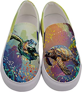 CowCow Womens Printed Slip On Peacock Birds Sea Funny Woodland Animals Canvas Sneaker Shoes, US5-US10.5