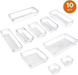 IPOW - 10 PCS Organizador cajones con 5 Tamaños Diferentes, Organizador Cajones Escritorio para Cocina, baños, papelería, Escuela, Armario y Accesorios