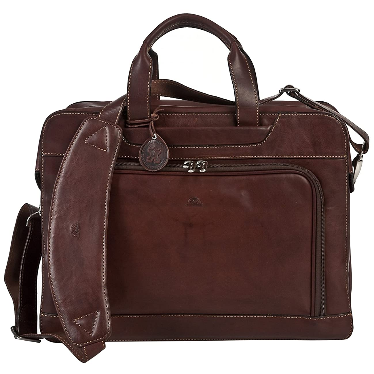 Tony Perotti Italian Leather Laptop Double Compartment Leather Briefcase