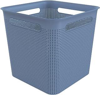 Rotho Brisen Boîte de Rangement Carrée 18L avec 4 Poignées, Plastique (PP) sans BPA, Bleu Horizon, 18L (29,1 x 29,1 x 28,1...