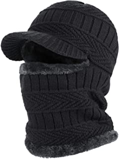 TAGVO Winter Thermal Knitted Balaclava Beanie Hat with Stretchy Flexible Fleece Lining Neck Warmer,  Windproof Thick Warm Cycling Ski Face Mask for Adults Women Men Outdoors Sports - Universal Size