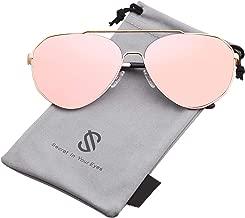 SOJOS Oversized Aviator Sunglasses Mirrored Flat Lens for Men Women UV400 SJ1083