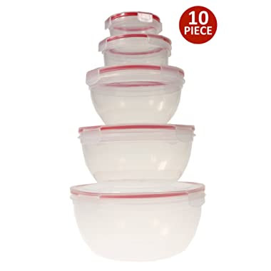 Handi-Ware 10-Piece Mixing Bowl Set - Leak Resistant - Snap Lids - BPA Free - Freezer Safe - Dishwasher Safe - Microwave Safe - Durable And Easy To Clean, by Unity
