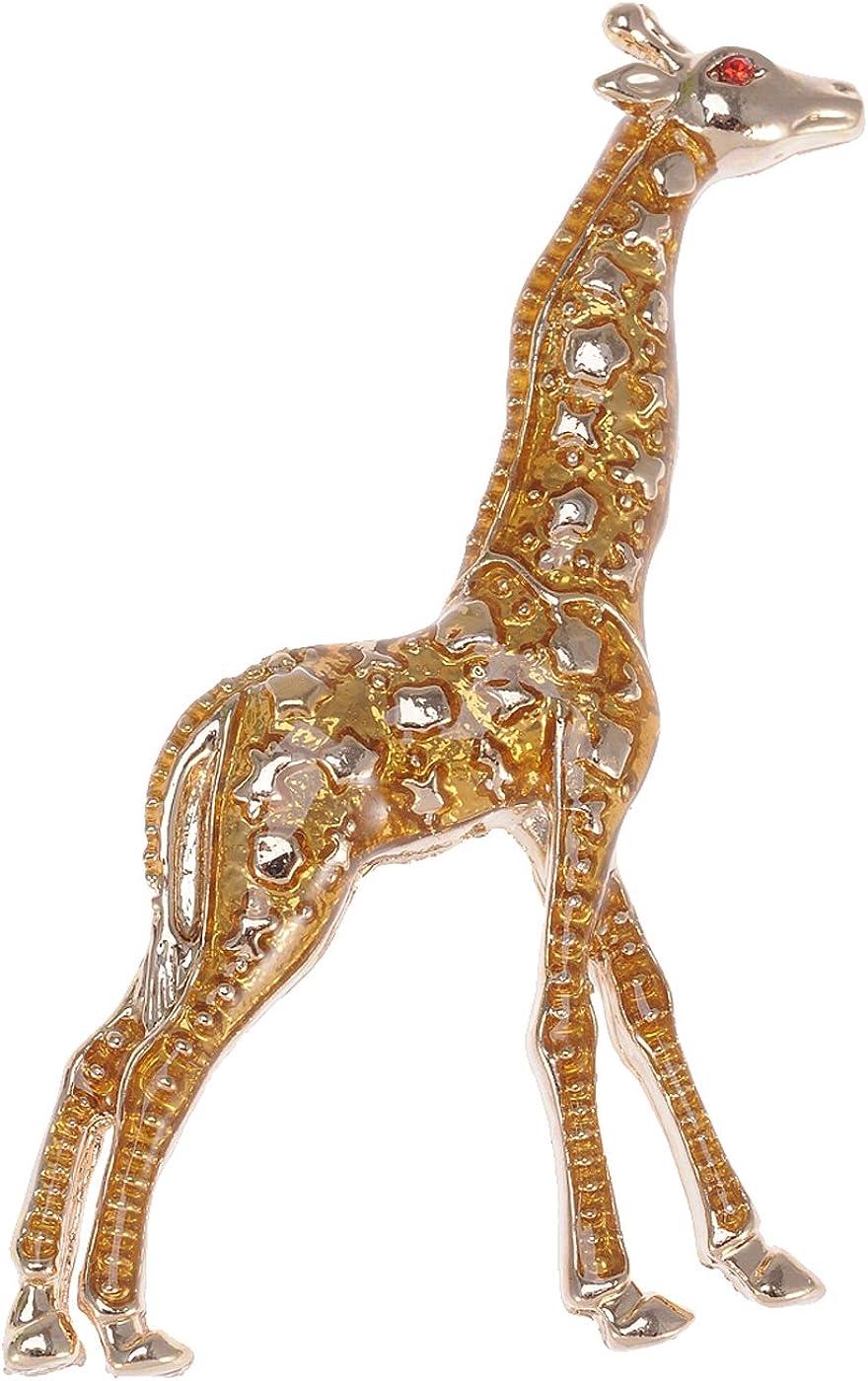 Alilang Golden Tone Yellow Animal Giraffe Spotted Texture Brooch Pin