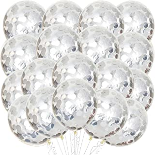 Silver Confetti Balloons Set - Pack of 30, 12 Inch I Silver Party Balloons Decorations I Pre -filled Confetti Latex Balloo...