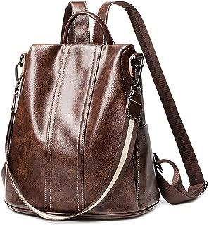 Women Backpack Purse PU Washed Leather Convertible Ladies Rucksack Zipper Pocket Shoulder Bag