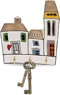 Egan Colgador de llaves, de cerámica esmaltada, color marfil, pequeño