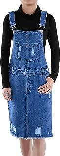 Junior Womens Distressed Denim Adjustable Strap Overall Dress