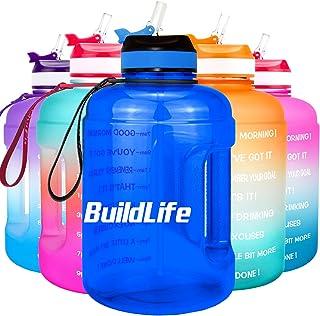 BuildLife Botella de agua motivadora de 2,2 l, con pajita y marcador de tiempo para beber diariamente, sin BPA, reutilizab...